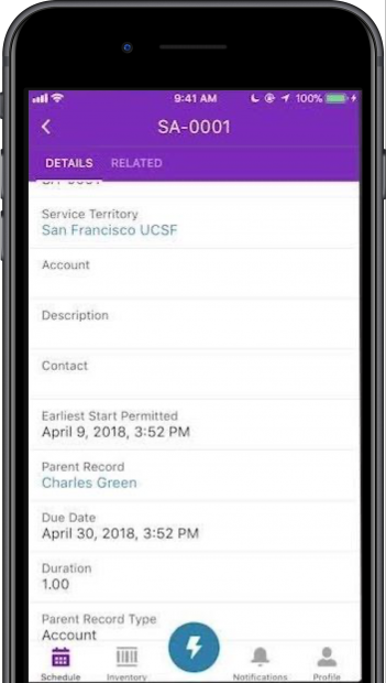 Salesforce Field Service Lighting implemented by Syanptic Advisors for mobile