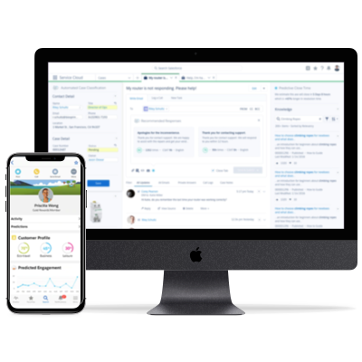 Salesforce Einstein on a computer and mobile device implemented by Synaptic Advisors